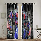 Meroy Fowler Transformers Optimus Prime Blackout Curtain Set-for Decoration Living Dining Bedroom Top Insulation Compartment Bedroom Living Room Children's Room 3D Printing-52in W X 72in L(1Pair)