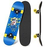 WeSkate Skateboard Classico per Principianti, 80 x 20 cm 7 Strati di Acero Double Kick Deck Concavo Skate Boards per Bambini Adolescenti Giovani Adulti Ragazze Ragazzi