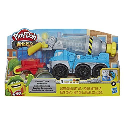 Play-Doh E6891 Wheels Zementlaster für Kinder ab 3 Jahren mit Play-Doh Zement Baustellen-Knete und 3 weiteren Farben