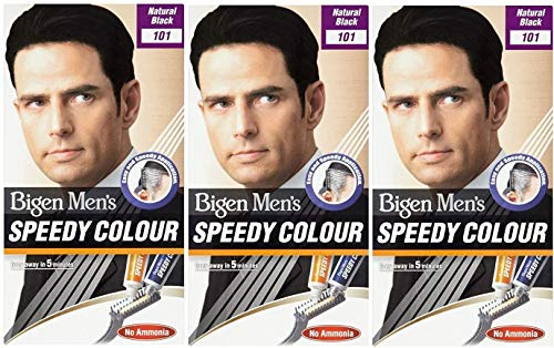 Bigen Herren Speedy Colour Haarfärbemittel für Herren, Farbton: natürliches Schwarz 101, 3 Stück