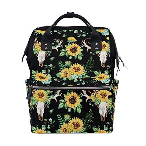 WIHVE Doctor Bag Backpack Sunflower Skull Feather Horn Large Diaper Bag School Travel Backpack