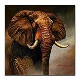 ZMFBHFBH Elefante clásico Carteles e Impresiones Elefante Arte de la Pared Impresiones de la Lona Animales Pinturas sobre Lienzo para el hogar Decoración de la pared-60x80cm Sin Marco