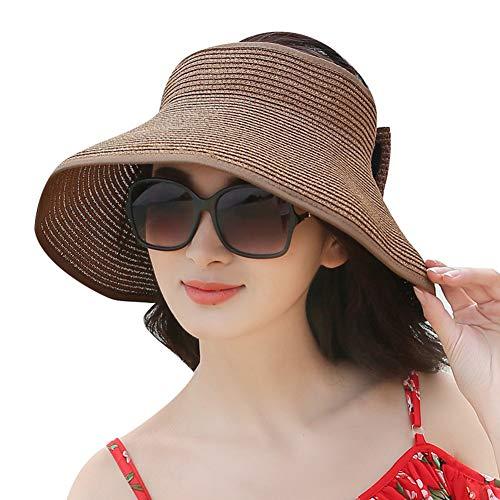 happyhouse009 Sommer Frauen Anti-UV Faltbare Sonnenblende Kappe Breite Krempe Hut Für Tennis Golf Angeln Laufen Joggen Kaffee Einfarbig*