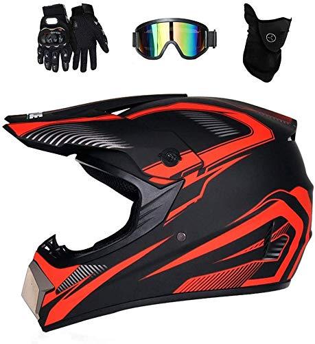 DLPAC Vollgesichts-Mountainbike-Helm mit Schutzbrillenhandschuhen (4 Stück) für...