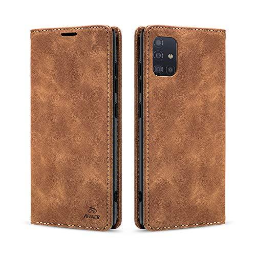 AFARER Einfache Art Brieftasche Handyhülle Kompatibel mit Samsung Galaxy A51 - Braun