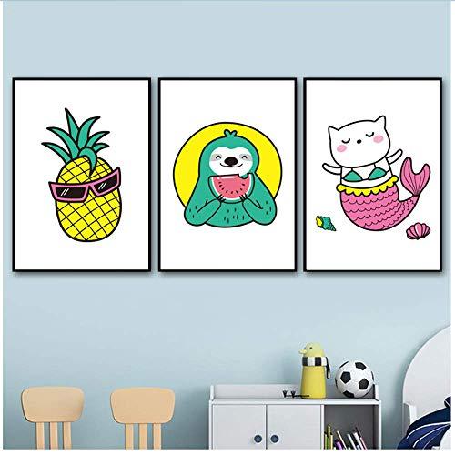 RuiChuangKeJi muurkunst zeemeermin kat anananas luier Nordic poster en afdrukken canvas schilderij wandschilderijen baby Kids Room Decor 3x40x60cm(15.7x23.6in) Geen lijst