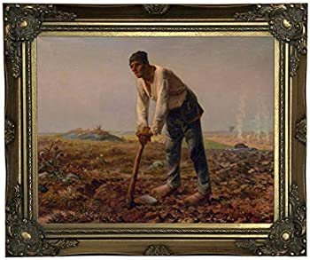 Historic Art Gallery Man with a Hoe 1860 by Jean-Francois Millet Framed Canvas Print Size 11x14 Gold