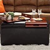 Convenience Concepts Designs4Comfort Storage Ottoman With Trays, Espresso