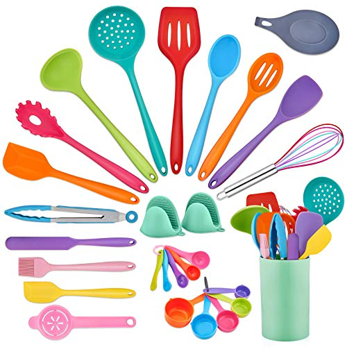 Cooking Kitchen Utensil Set (28Pcs), P&P CHEF Color Baking Utensils Spatulas, Heat-resistant Silicone for Nonstick Cookware, Measuring Cups/Oven Mitts/Mat/Holder/Egg Separator