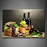Grape Wine in Bottle Cups Wall Art Painting The Picture Print On Canvas Food Pictures for Home Decor Decoration Gift