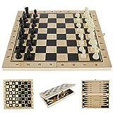 Scacchi in Legno 3 in 1 Set di Scacchiera in Legno Dama Giocattolo da Backgammon Pieghevole Portatile per Viaggio Giocattoli Educativi per Adulti Bambini (34x34 cm)