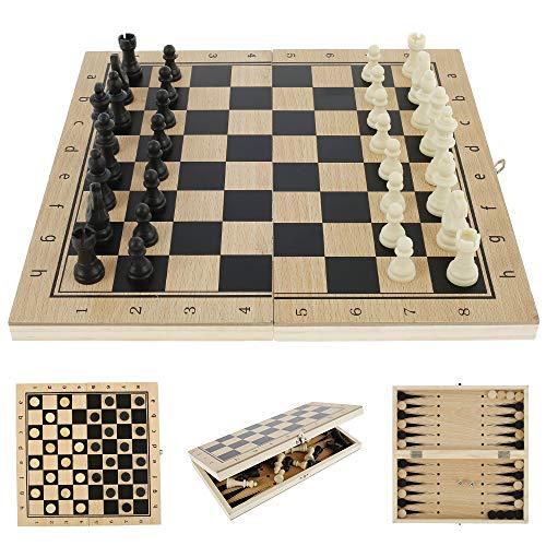 Ajedrez de madera 3 en 1 Juego de tablero de ajedrez de madera Dama Juguete de Backgammon Plegable Portátil para Viaje Juguetes Educativos para Adultos Niños (34 x 34 cm)