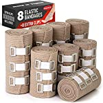 Premium Elastic Bandage Wrap - 8 Pack + 8 Extra Clips - Durable Compression Bandage (4X - 3 inch, 4X - 4 inch Rolls… 8 ✅ 2 DIFFERENT SIZES - Your package includes four 3-inch rolls and four 4-inch rolls of elastic bandages. It provides more possibilities for effective wrapping various injuries, so, you can get back to feeling like a boss. Our smaller bandage is perfect for covering smaller areas like your wrists, ankles, and elbows, while the larger bandage is ideal for larger areas as shoulders, calves, or knees. ✅ SUPERIOR ELASTICITY - We made our high-quality compression bandage wrap from premium polyester. You're going to feel great because it provides supportive compression for keeping your muscles snug as a bug in a rug. Also, the Mighty-X crepe bandage can extend up to 15ft when fully stretched, which is enough to cover most areas. ✅ INDIVIDUALLY PACKAGED - Each elastic bandage wrap is enveloped in a protective wrapper until you're ready to use it. We do this to keep your compression wrap hygienic and debris-free to help prevent any kind of irritation.