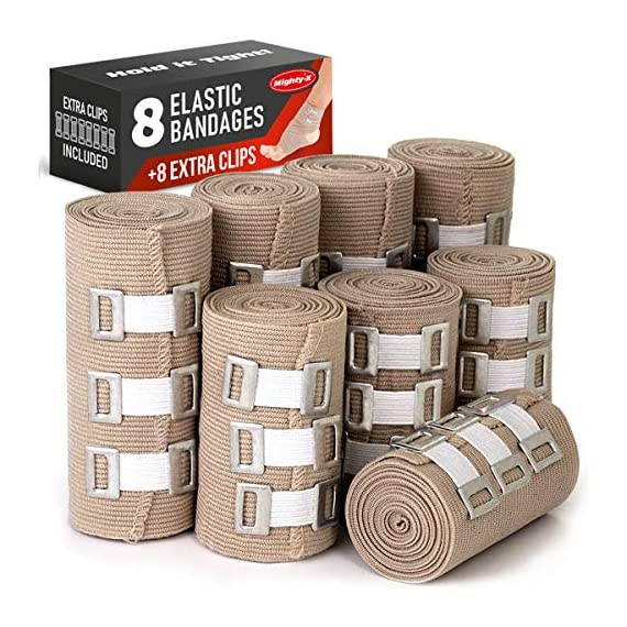 Premium Elastic Bandage Wrap - 8 Pack + 8 Extra Clips - Durable Compression Bandage (4X - 3 inch, 4X - 4 inch Rolls… 1 ✅ 2 DIFFERENT SIZES - Your package includes four 3-inch rolls and four 4-inch rolls of elastic bandages. It provides more possibilities for effective wrapping various injuries, so, you can get back to feeling like a boss. Our smaller bandage is perfect for covering smaller areas like your wrists, ankles, and elbows, while the larger bandage is ideal for larger areas as shoulders, calves, or knees. ✅ SUPERIOR ELASTICITY - We made our high-quality compression bandage wrap from premium polyester. You're going to feel great because it provides supportive compression for keeping your muscles snug as a bug in a rug. Also, the Mighty-X crepe bandage can extend up to 15ft when fully stretched, which is enough to cover most areas. ✅ INDIVIDUALLY PACKAGED - Each elastic bandage wrap is enveloped in a protective wrapper until you're ready to use it. We do this to keep your compression wrap hygienic and debris-free to help prevent any kind of irritation.