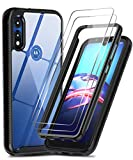 Moto E Phone Case, Moto E Case with 2 Tempered Glass Screen Protector, LeYi Full-Body Rugged Hybrid Bumper Shockproof Anti-Scratch Clear Protective Phone Cover Cases for Motorola Moto E 2020, Black