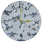 Reloj de Pared Decorativo Relojes de batería Animales de mar de Pescado Reloj sin tictac para Cocina / salón 25cm