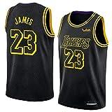 バスケットボールの服 新シーズンバスケットボール服、レブロン・ジェームズ#23バスケットボールジャージー、L.A.レイカーズトレーニングジャージ、メッシュ通気性のTシャツトレーナー(XS-XXL) (Color : A, Size : XS)