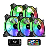 aigo AR12 5-Pack 120mm RGB Case Fan 3 Pin 5V ARGB Addressable Motherboard SYNC Cooling SATA Interface PC Fans with Controller for Computer Case