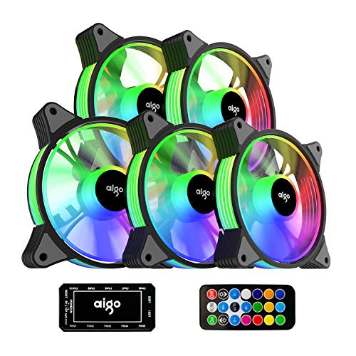 aigo AR12 5-Pack 120mm RGB Case Fan ARGB Addressable Motherboard SYNC Cooling SATA Interface PC Fans with Controller for Computer Case