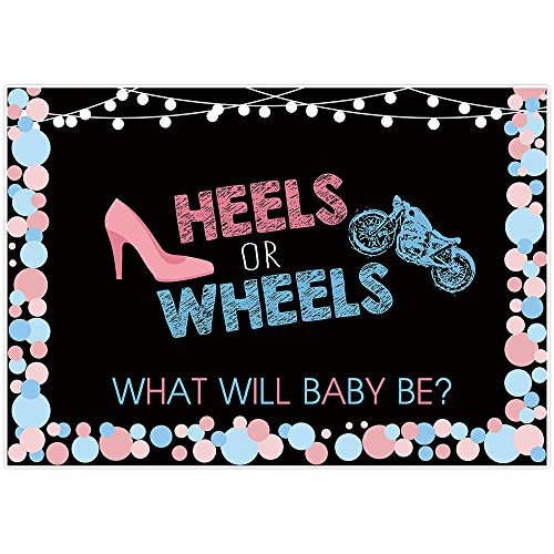 Allenjoy 7x5ft Heels or Wheels Gender Reveal Backdrop Pink Blue Dot Photography Background Boy or Girl Gender Surprise Party Banner Baby Shower Cake Table Decoration Photo Booth Props