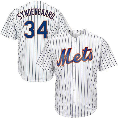 # 34 NYM Syndergaard Mets Herren Baseball Shirts Fans Baseball Trikots Kurzarm T-Shirts Spiel Team Uniformen Buttoned Top M-3XL-White-M