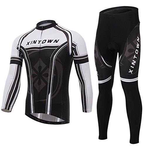 Baymate Homme Respirant Vélo Maillot de Cyclisme Manche Longue et Rembourrées Pantalons Vêtements de Cyclisme