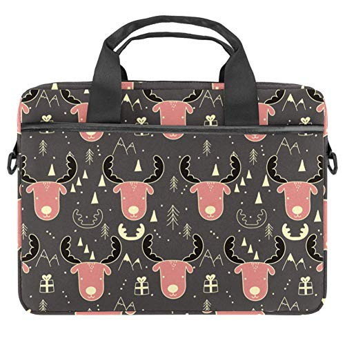 Moose Pattern Laptop Case Canvas Pattern Briefcase Sleeve Laptop Shoulder Messenger Bag Case Sleeve for 13.4-14.5 inch Apple MacBook Laptop Briefcase