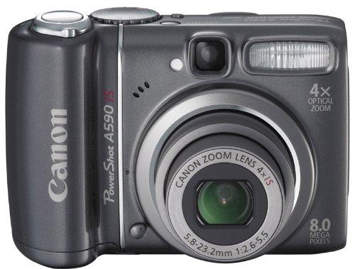 Canon PowerShot A590 IS Digitalkamera (8 Megapixel, 4-fach opt. Zoom, 6,4 cm (2,5 Zoll) Bildschirm, Bildstabilisator) schwarz