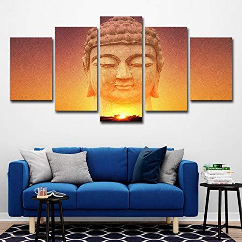 Tantoto Leinwand Malerei Wandkunst 5 Stück Kreative Dekoration Malerei Sonnenaufgang Buddha Statue Dekorieren Wohnzimmer Wandkünstler Haus-A_M = 40/60/80 * 30 cm