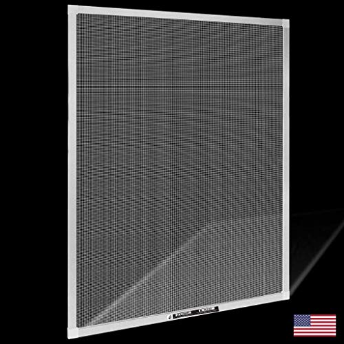 Window Screens Pre-Framed, Ready to Hang - Home Replacement Window Screens - Custom Sizes, Colors & Options - Frame Color: (White), Material Type: (Fiberglass Screen - Gray)