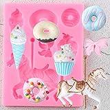 JACKWS Donuts, Helado, Molde De Silicona, Carrusel, Herramientas De Decoración De Pasteles, Adorno para Cupcakes, Moldes...