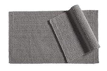 Amazon Basics Reversible Everyday Cotton Bath Rug Set of 2 17  x 24  and 20  x 34  Fog Grey
