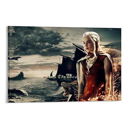 Juego de Tronos Temporada 7 Dragon Rock Island Póster personalizado Decoración de la sala de estudio de aula, 40 x 60 cm