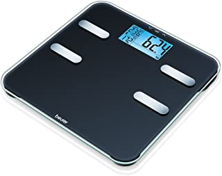 Beurer BF 185 - Báscula de análisis para medir peso, grasa corporal, agua corporal, masa muscular y ósea, con cálculo de las necesidades de calorías AMR, con 10 memorias de usuario