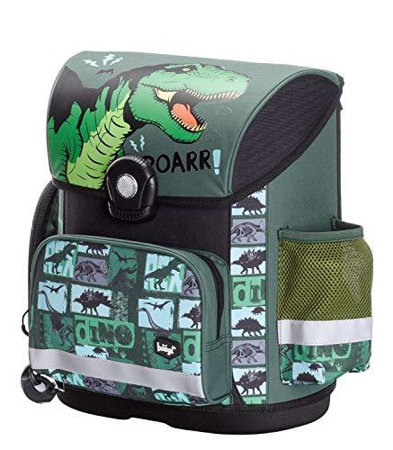 Baagl Schulranzen Jungen 1. Klasse - Ergonomische Schultasche für Kinder - Dinosaurier Grundschule Ranzen - Schulrucksack mit Brustgurt (Dino)