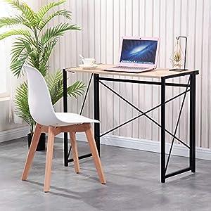 Mesa de escritorio de escritorio de oficina y escritorio de estudio de GOLDFAN para ordenador portátil, plegable, mesa de escritorio, mesa de comedor y juegos