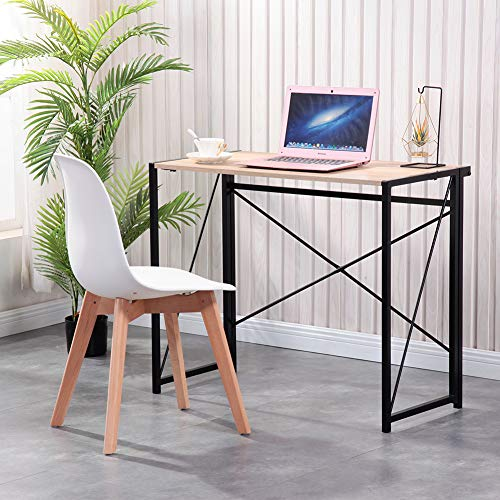 GOLDFAN Modern Computer Desk Office Study Desk Laptop Table Foldable Free Assembly Wood Writing Desk Dining Gaming Table