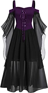Womens Renaissance Costumes Hooded Robe Lace Up Vintage Pullover High Low Long Hoodie Dress Halloween Top LIM&Shop