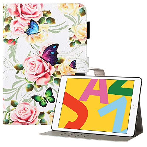 Coopts iPad 7th Generation Case with Pencil Holder, iPad 10.2 2019 Case, Premium PU Leather Protective Folio Stand Smart Wallet Case for iPad 10.2' 7th Gen 2019/Air 3 2019/Pro 10.5 2017, White Peony