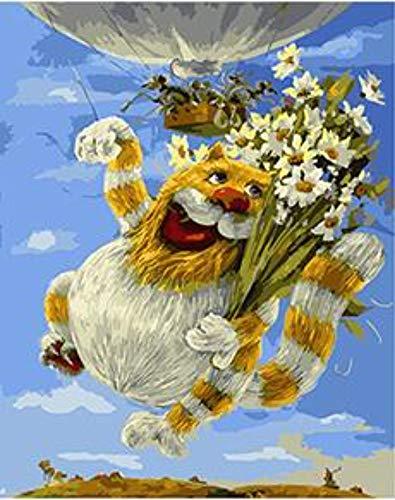 WYTCY Katze Mit Blumenstrauß Ausmalbilder Mit Acrylfarben Auf Leinwand Zum Ausmalen 40x50cm