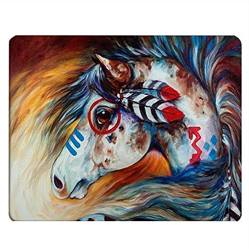 Nicokee Horse Gaming Mousepad Spirit Indian War Horse Art Mouse Pad Mouse Mat for Computer Desk Laptop Office 9.5 X 7.9 Inch Non-Slip Rubber