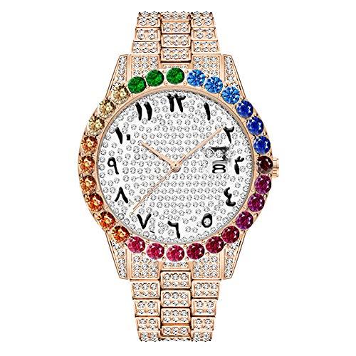 Zoyie Herrenuhren Damenuhr Hip Hop Bling Full Diamond Arabische Quarzuhr Iced Out Kalender Armbanduhr Stunden wasserdichte Armbanduhren Geburtstag Business Geschenk