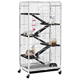 YAHEETECH 52-inch 6 Level Large Metal Ferret Cage and Habitats Small Animal Hutch with 3 Front Doors/Feeder/Wheels for Bunny Chinchilla Squirrels Indoor Outdoor -White