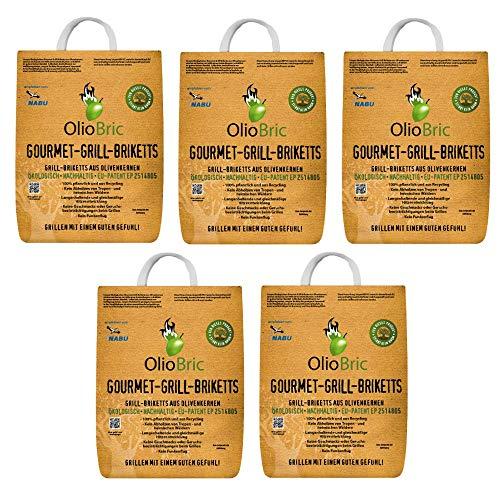 OlioBric Gourmet-Grill-Briketts | Oliventrester Grillkohle | nachhaltig | kein Rauch | Lange Brenndauer | bis zu 500°C (15)