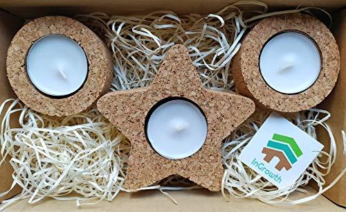 InGrowth Porta Velas de Corcho | Decoración ecológica de Navidad |Redonda y Estrella | Regalo para Navidad | decoración sostenible del hogar
