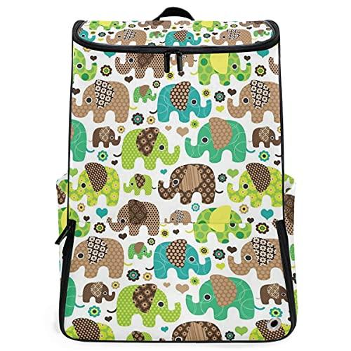 YUDILINSA Viaje Mochila,Fondo de pantalla de patrón de niños elefante retro sin costuras,Universitaria Mochila,Laptop Backpack con Compartimento para zapatos