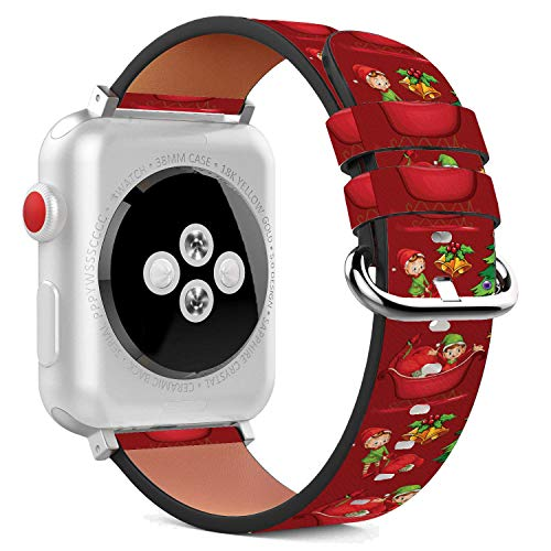 Compatible with Apple Watch - 42mm / 44mm (Serie 6/5/4/3/2/1) Leather Wristband Bracelet with Stainless Steel Clasp and Adapters - Red Xmas Santa