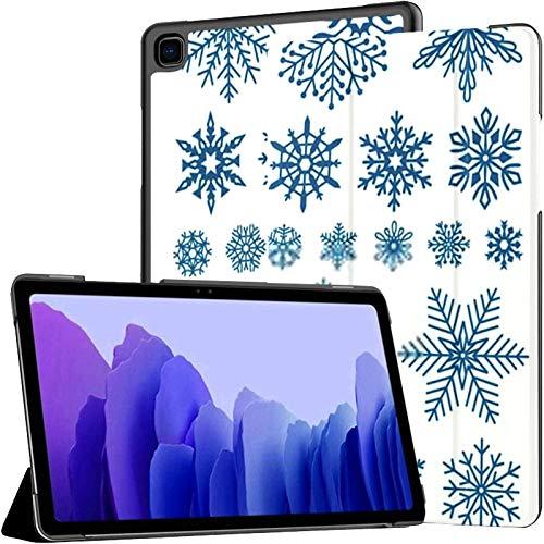 Funda para Tableta Samsung A7 Copos de Nieve Planos Copos de Nieve de Invierno Cristales Funda navideña para Samsung Galaxy Tab A7 10.4 Pulgadas Funda Protectora de liberación 2020 Funda Samsung Gala