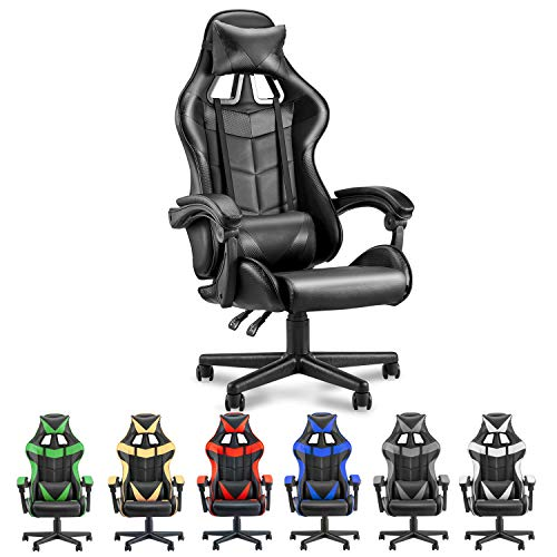 Soontrans PC Gaming Chair Ergonomic Office Chair Racing Chair for Gaming,Computer Chair,E-Sports Chair with High-Back,Adjustable Headrest and Lumbar Support (Carbon Black)