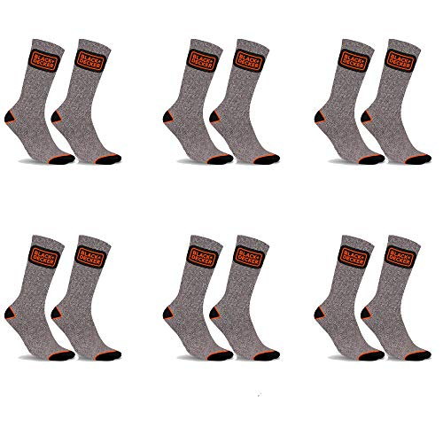 Black+Decker Working Man PK1841 Talla 43/46: Black&Decker-Pack 6p Calcetines Black+DECKER-Gris-50% algodón 47% poliéster 3% Poliamida, Gris, Hombre